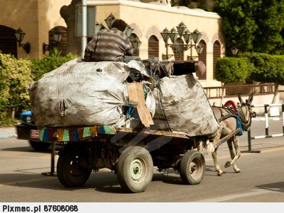 Zabbaleen trash collectors on horse and cart